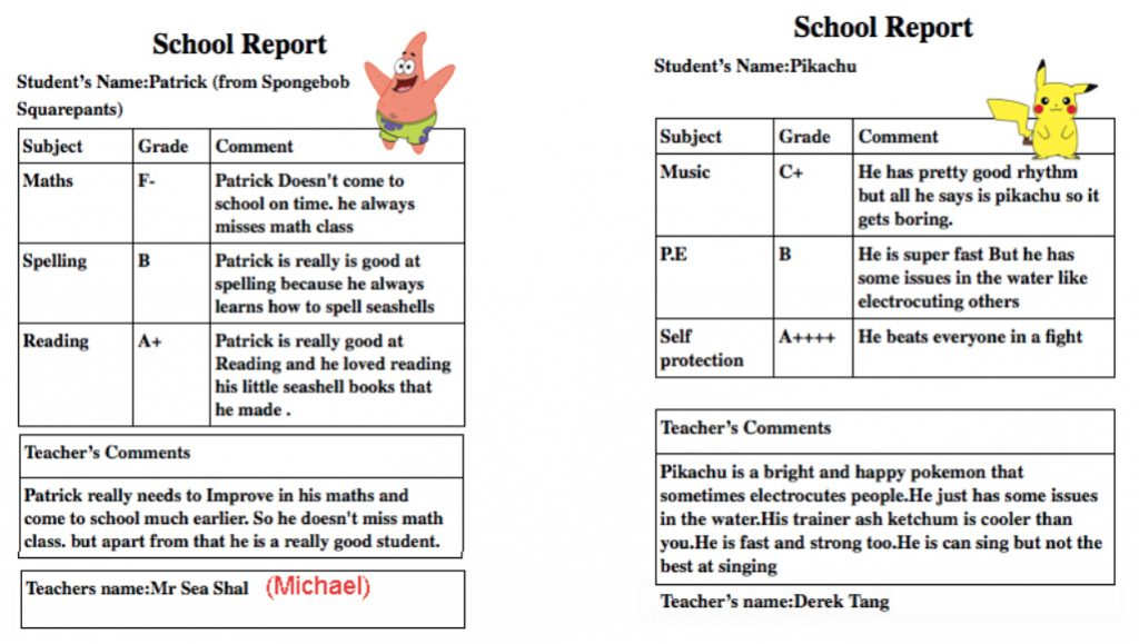 School Reports For Larger Than Life Characters John Carr